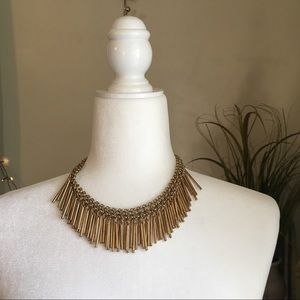 Vintage Jewelry - Statement Fringe Gold Tone Necklace